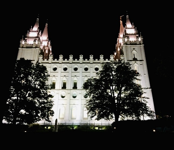 Blick auf die Kirche der Mormonen in Salt Lake City, Utah