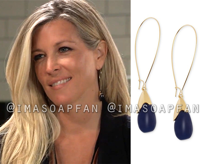Carly Corinthos, Laura Wright, Blue Oval Bead Drop Earrings, General Hospital, GH