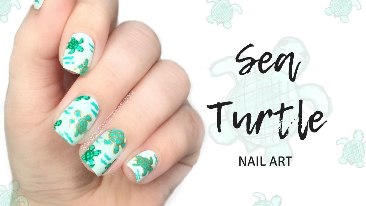 Sea Turtle Nails Tutorial 25 Sweetpeas