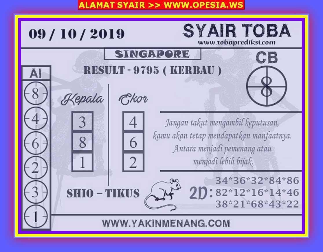 Kode syair Singapore Rabu 9 Oktober 2019 38
