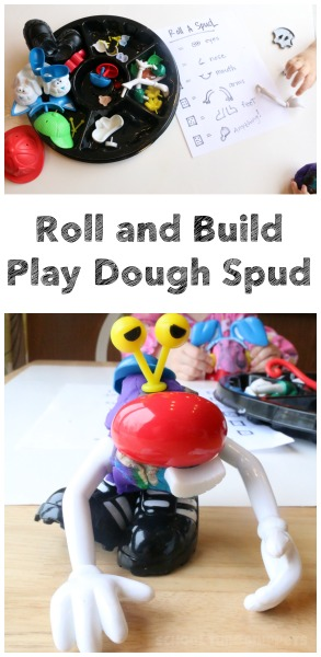 My little ones had so much fun creating some pretty interesting looking Play Dough Spud Creatures all the while sneaking in some math skills like number recognition with this Roll and Build Dice Game!