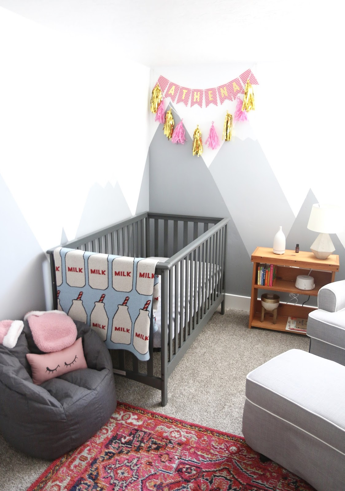 mountain mural walls nursery, baby girl, Gray nursery, neutral nursery, gray crib