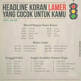 HeadLINE Koran Lampu Merah Yang Cocok Untuk Kamu ..