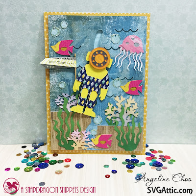 SVG Attic: Under the Sea Slider Card with Angeline #svgattic #scrappyscrappy #underthesea #interactivecard #slidercard #card #cardmaking #papercraft #cutfile #svg