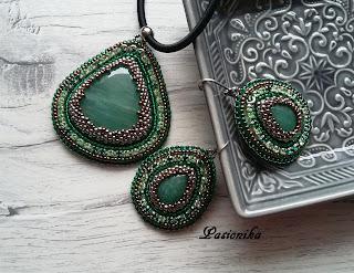 biżuteria, kolczyki, wisior, haft koralikowy, awenturyn