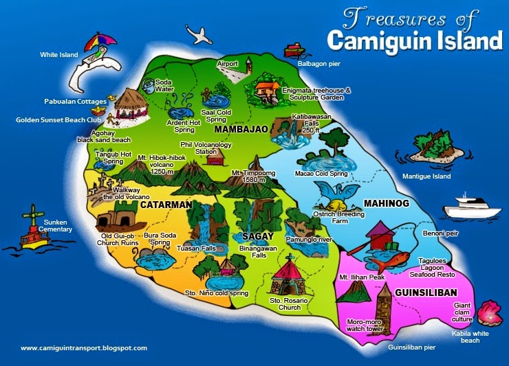 15 Attractions in 2 Days A Travel Guide to Camiguin Island – Philippines Tourist Attractions Map