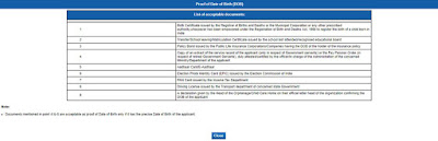 Photo: Documents Required for Proof of Date of Birth (DOB)