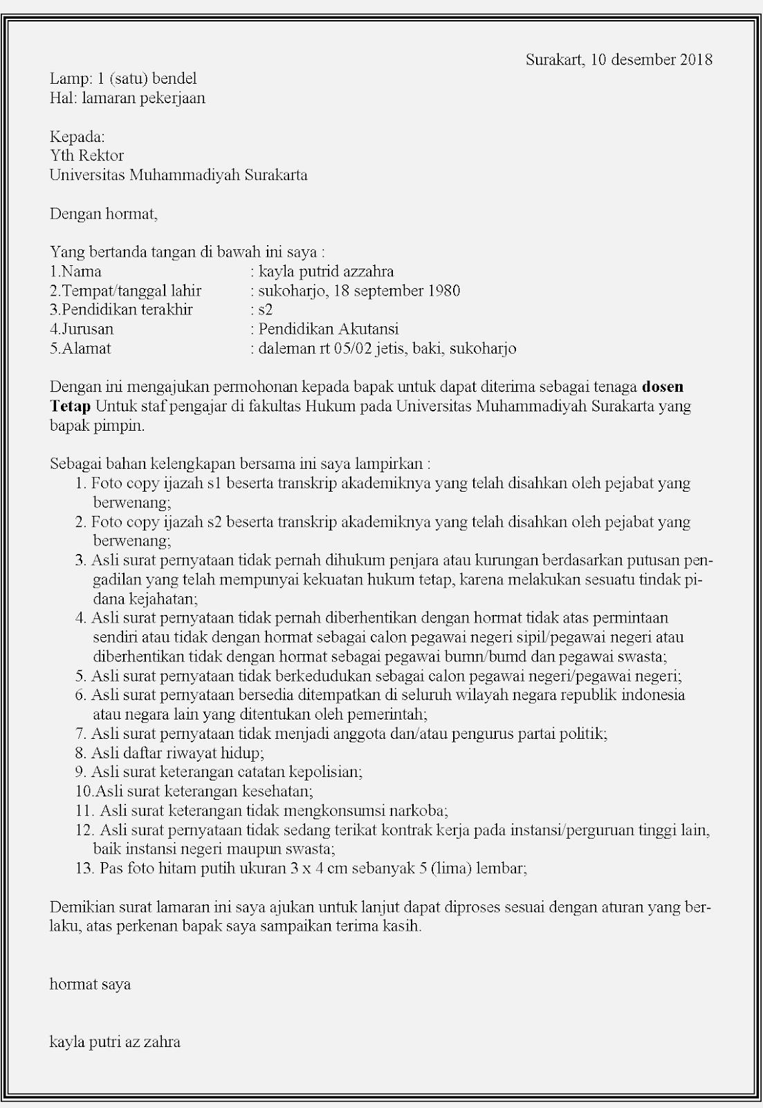 25 Contoh Surat Lamaran Kerja Dosen Tetap Dan Honorer Contoh Surat