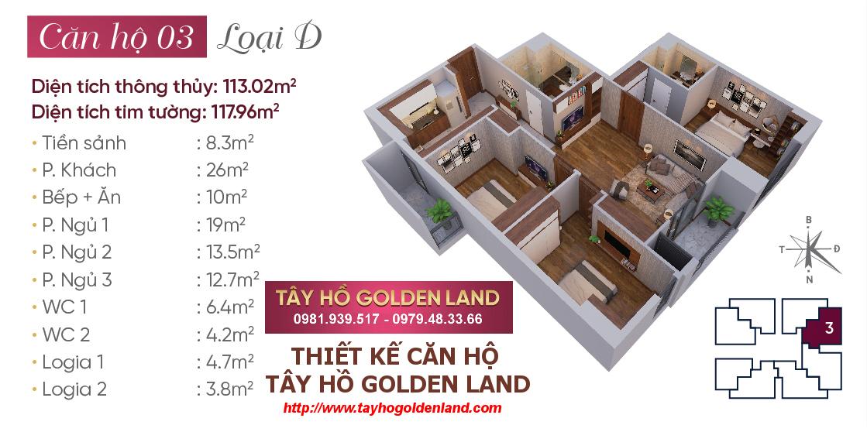 Hình ảnh Thiết kế căn hộ Tây Hồ Golden Land Căn 03 - Loại D