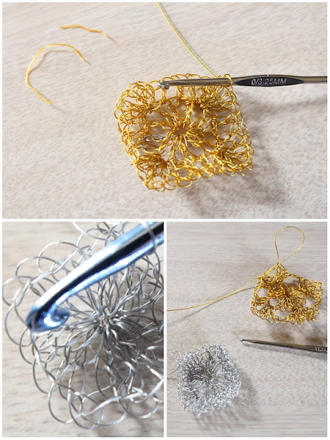 crochet, tips, crocheting with metal, jewelry, wire, granny square