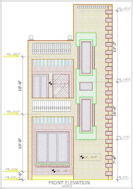 "Front Elevation of a House - Small Plot, Rural Delhi. A small plot measuring a little under 900 sft, with a front of only 15'-9"" in a rural setting in Delhi has being worked out by myself. This is the Front Elevation."