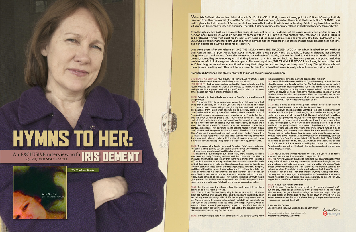 Discussions Magazine Music Blog: IRIS DEMENT: An EXCLUSIVE interview!