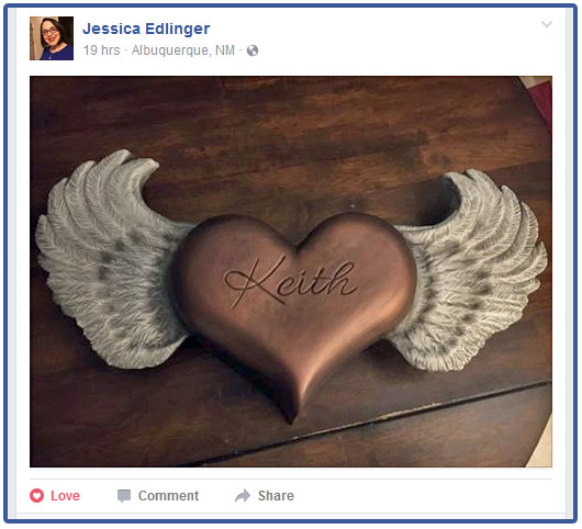 Heart with Wings Wall-Mounted Urn