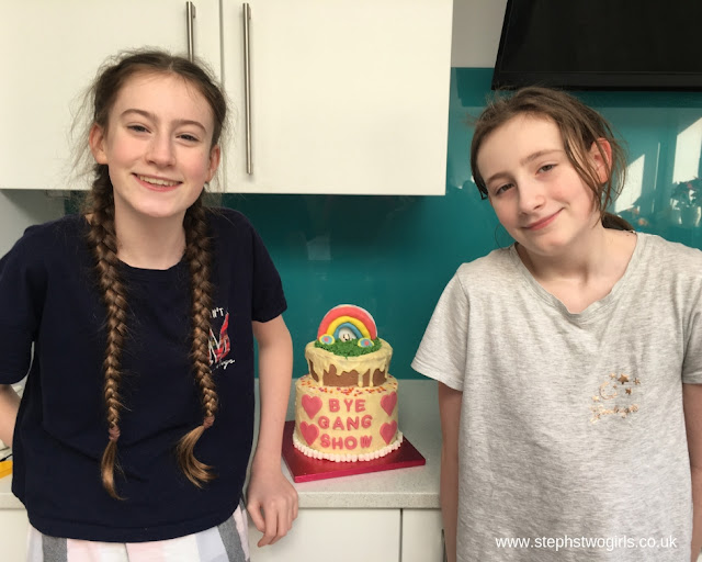 stephs two girls siblings with cake feb 2019