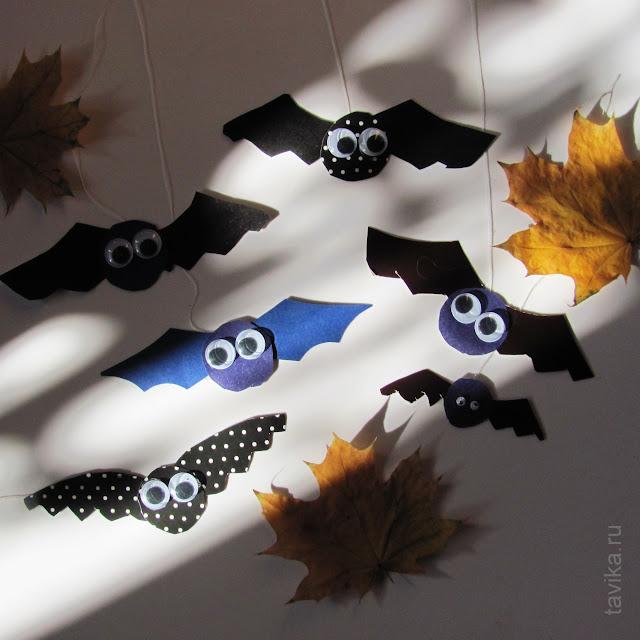 летучая мышь  на Хэллоуин детская поделка