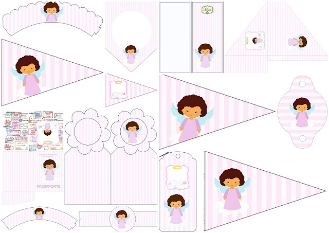 Brunette Angel Girl: Free Party Printables.
