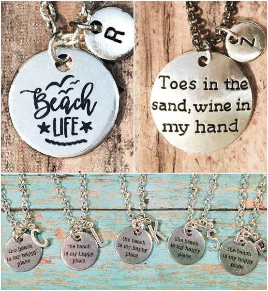 Beach Quote Stamped Charm Necklace