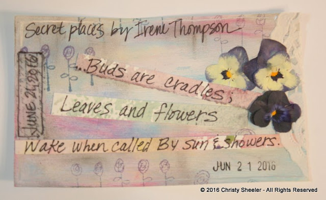 ICAD June 21, pressed violas and excerpts from a poem by Irene Thompson.