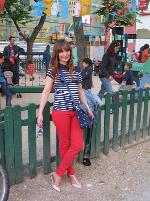 Coral pants and stripes