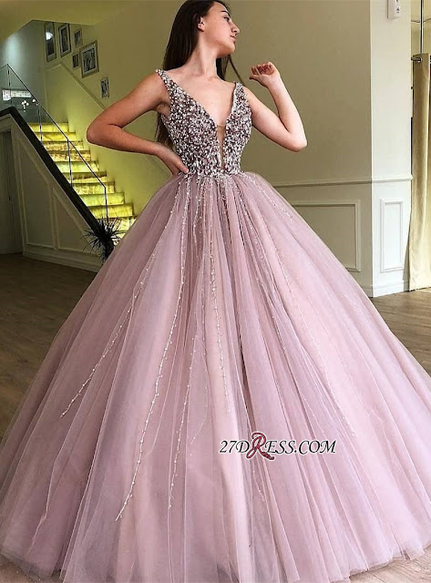 Beautiful V-Neck Beaidngs Evening Dress | 2019 Ball Gown Tulle Prom Dress