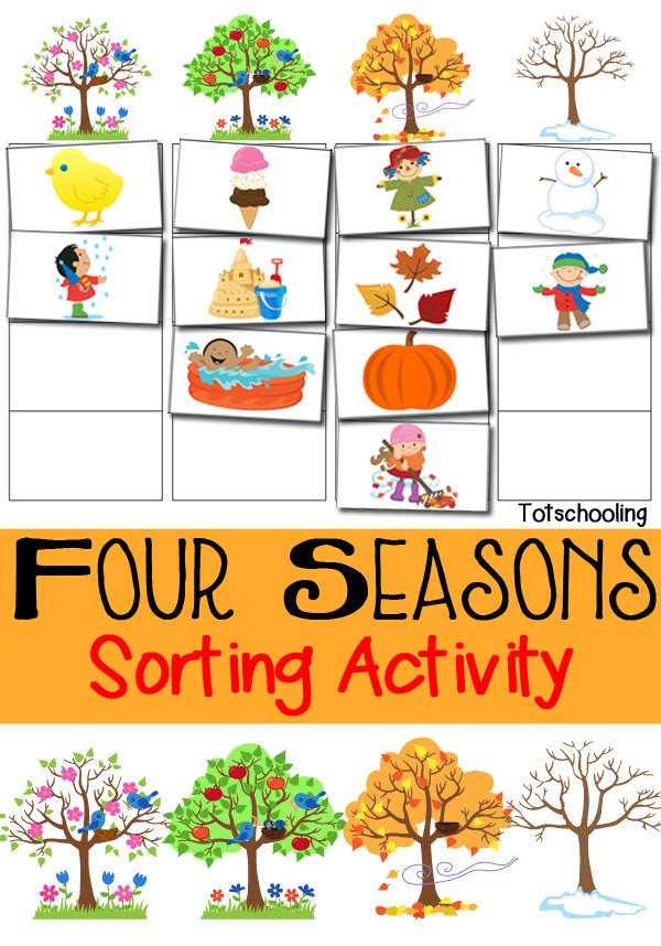 Four Seasons Sorting Activity Free Printable