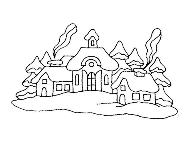 Gambar Mewarnai Pemandangan Musim Dingin - 5