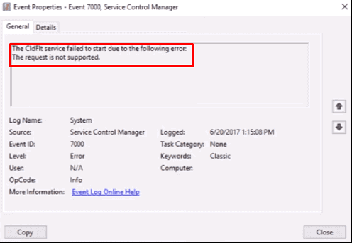 Workaround: Cldflt Failed to Start Error in Windows 10
