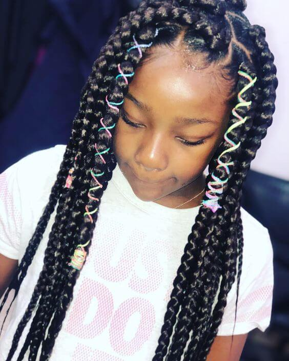 39+ Latest Box Braids Ponytails for Little Girls To Make