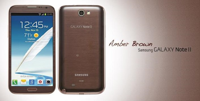he Samsung Galaxy Note 2 Amber Brown Version