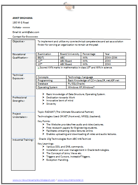 Information+Technology+Resume+Format+(Page+1) Sample Curriculum Vitae For Graduate on