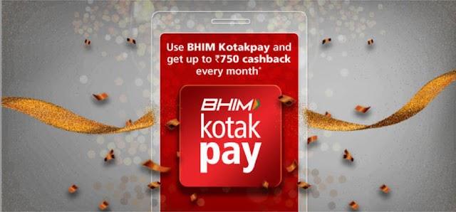(Loot) BHIM KotakPay App Offer-Get Rs.25 Cashback on Each Txn(Earn Rs.750)