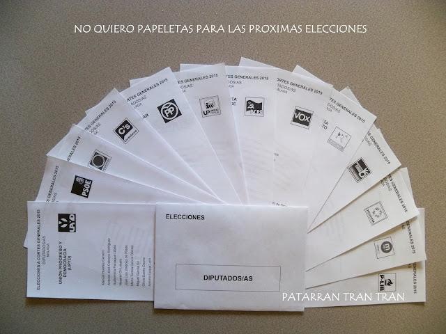 NO QUIERO SOBRES DE PAPELETAS EN LAS PRÓXIMAS ELECCIONES