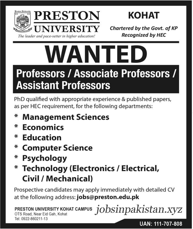 Advertisement for Preston University Kohat Jobs 2018