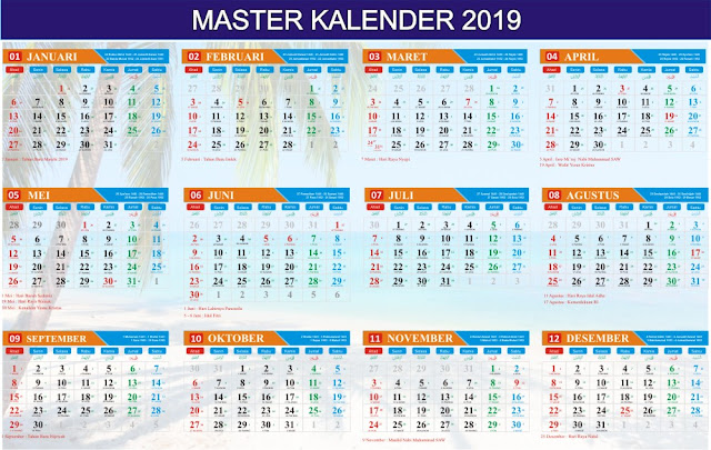 Download Kalender 2019 Lengkap Corel Draw