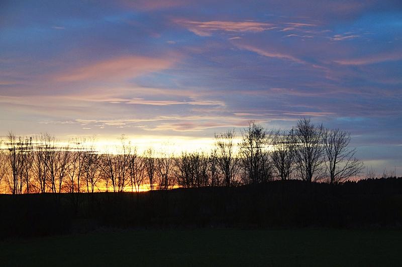 December Evening Sun Sky