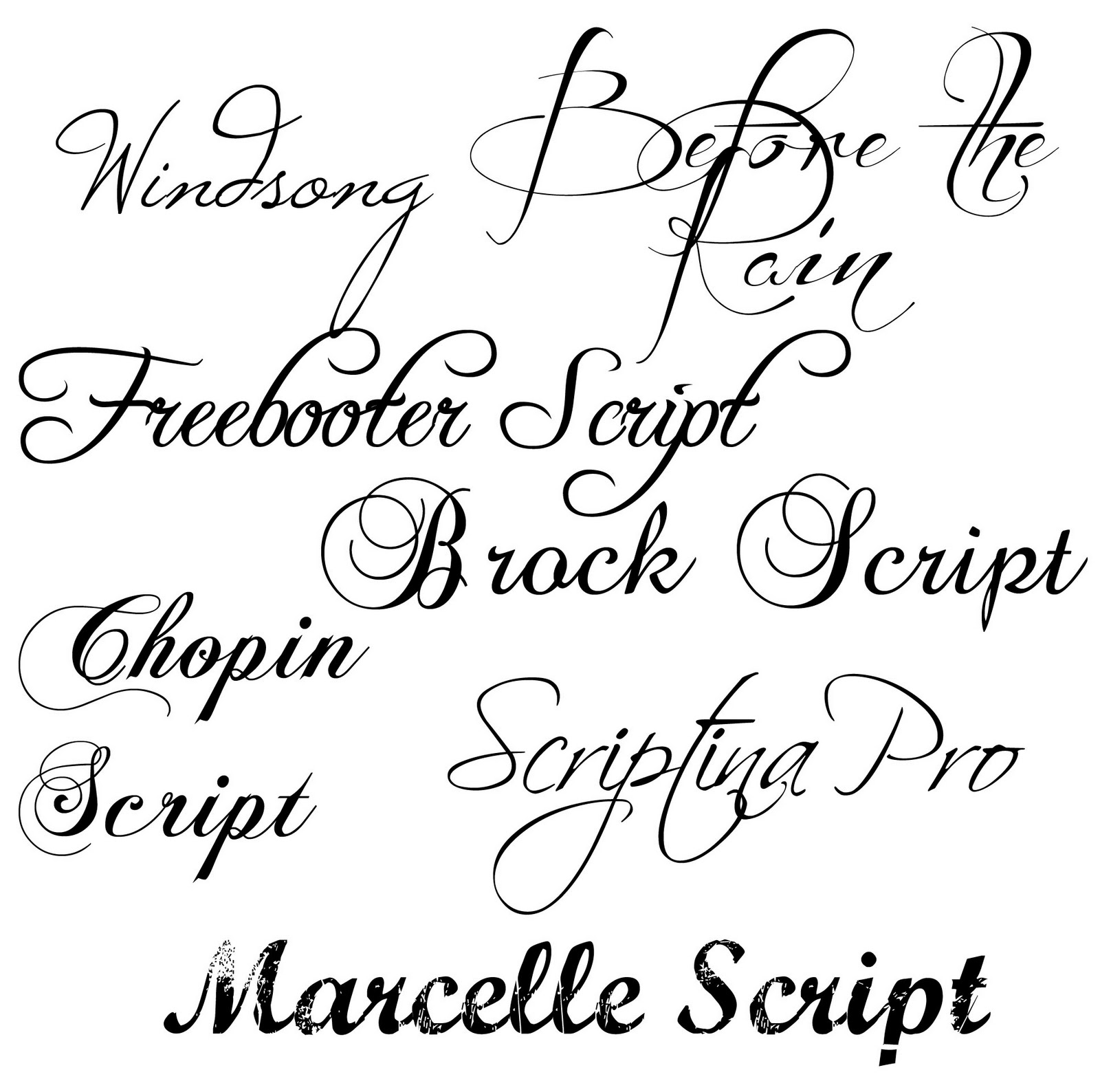 different types of fancy handwriting alphabet