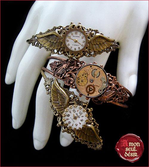 bracelet steampunk cadran de montre mécanisme mouvement de montre cuivre bronze ailes insectes scarabée chronophage chronos bijoux retrofuturiste victorien