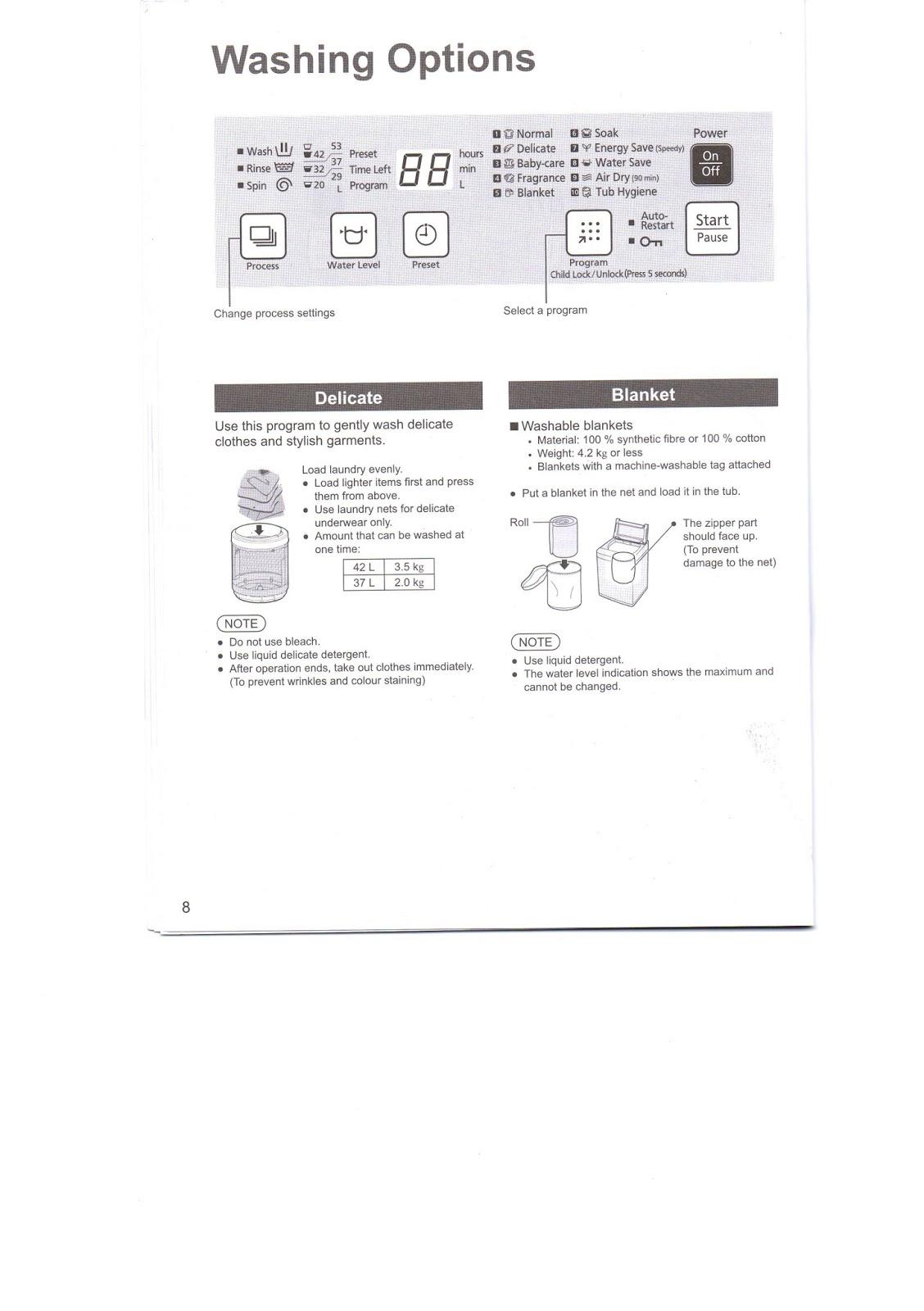 washing machine operating instructions