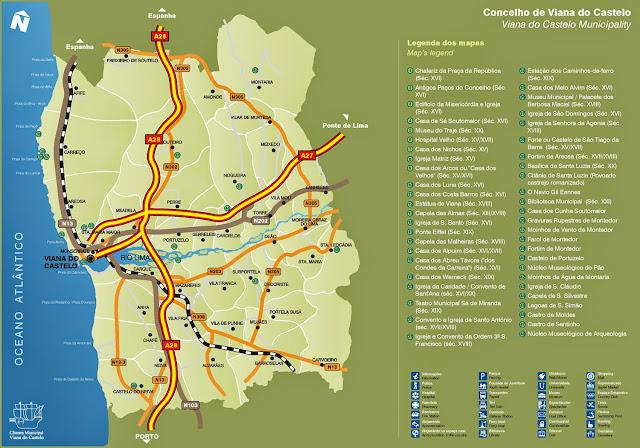 Mapa de acessos a Viana do Castelo