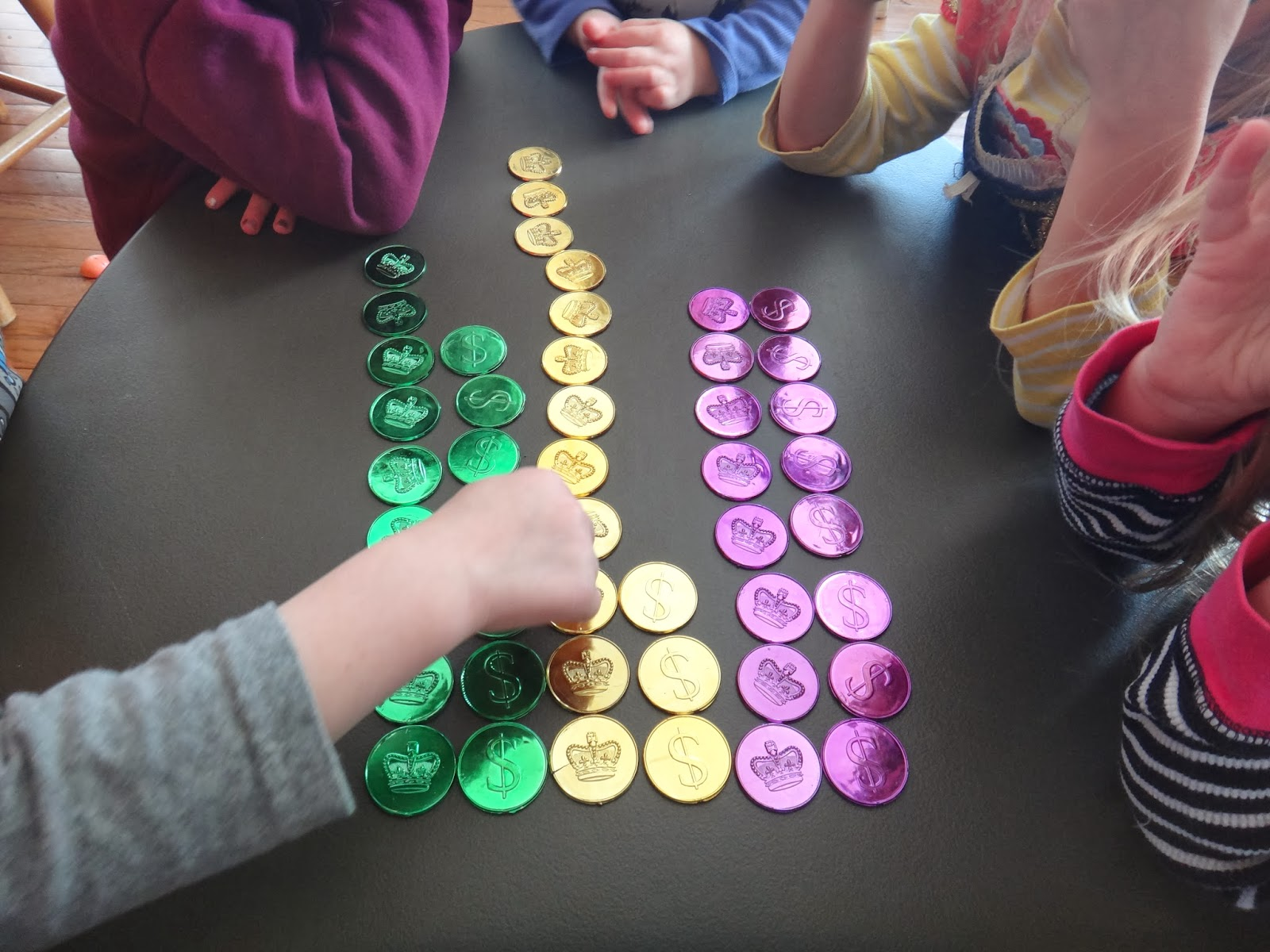 Little Stars Learning Math With Mardi Gras Coins