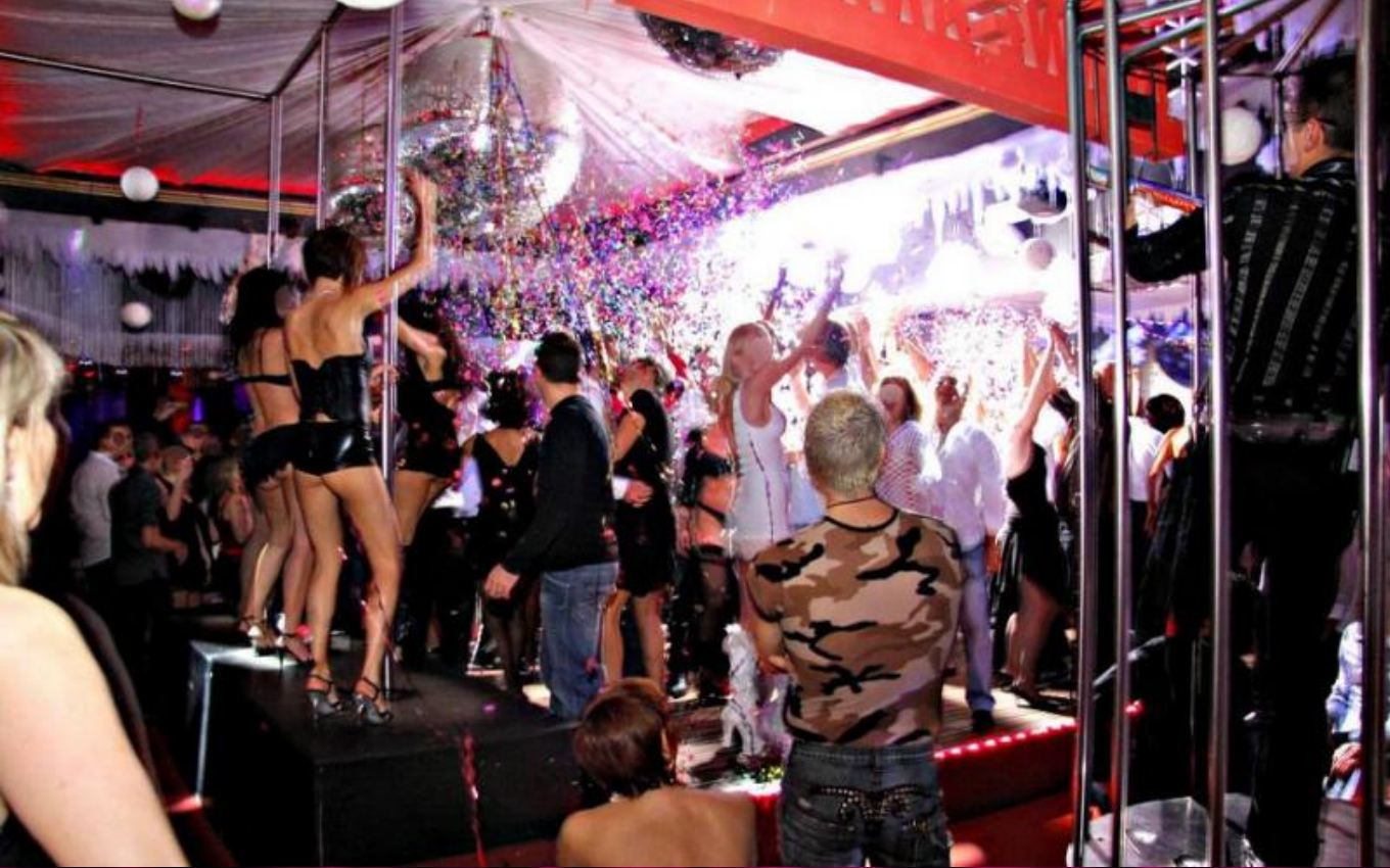 Femdom party naked male servers