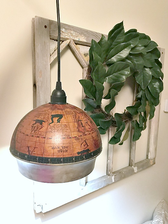 Repurposed Ice Bucket Globe Hanging Light. Homeroad.net