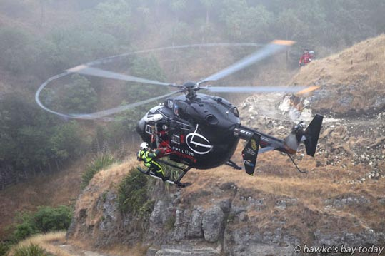 The Lowe Corporation Rescue Helicopter winched a mountainbike rider off Te Mata Peak after he fell about 15 metres from near a site which is popular for abseiling. St John Ambulance and Police also attended. photograph