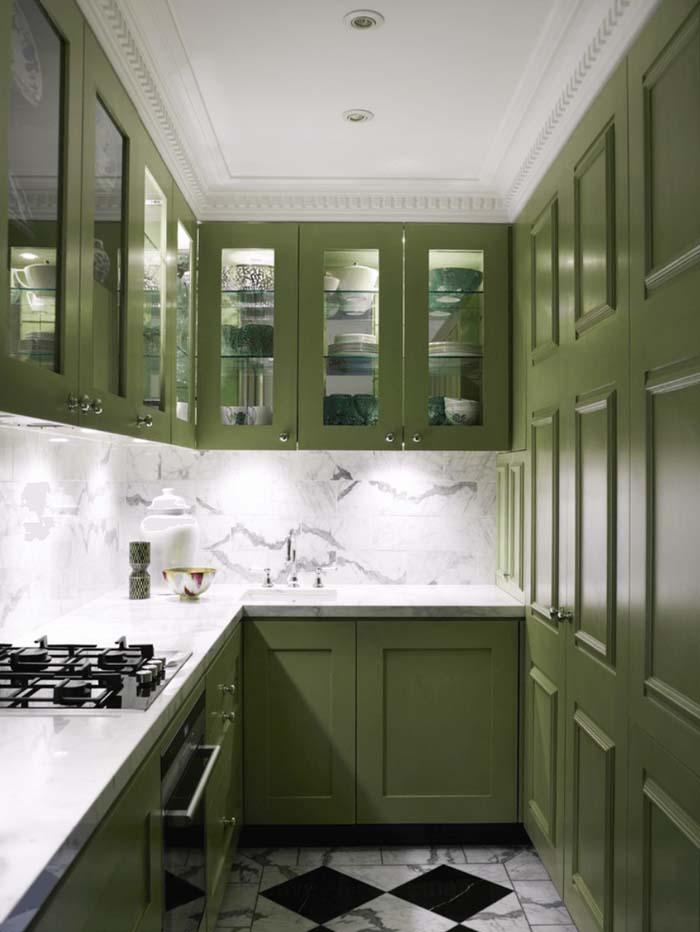 yosun yeşili mutfak dolabı modelleri