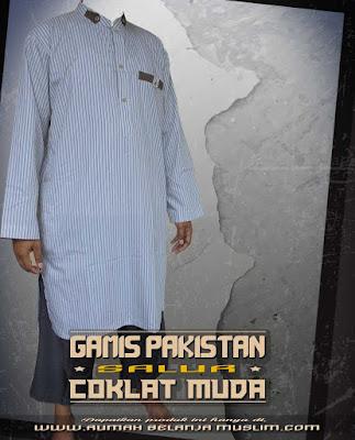 Gamis Pakistan Salur Coklat Muda