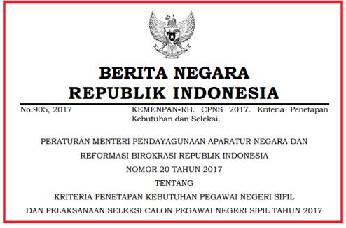 Permenpan RB Nomor (No) 20 Tahun 2017