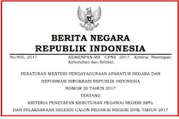 [Download] Permenpan No 20 [Tahun] 2017 (Tentang) KRITERIA KEBUTUHAN PNS & Pelaksanaan Seleksi CPNS [Tahun] 2017