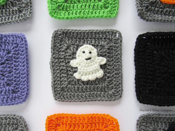 Halloween Ghost Granny Square Crochet Pattern