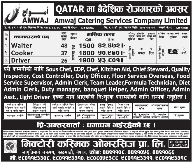 Jobs in Qatar for Nepali, Salary Rs 53,801
