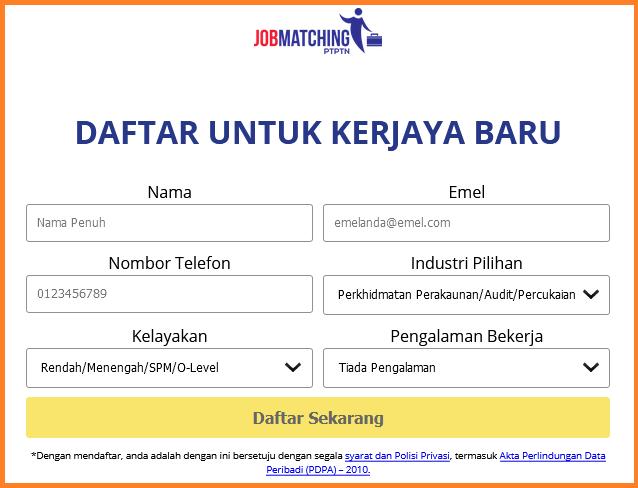 Cara membuat permohonan online Job Matching PTPTN untuk graduan